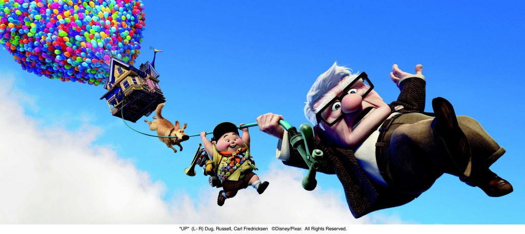 """UP"" (L- R) Dug, Russell, Carl Fredricksen ©Disney/Pixar.  All Rights Reserved."